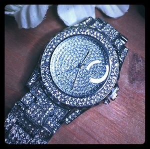 Silver Rhinestone CZ Covered Watch